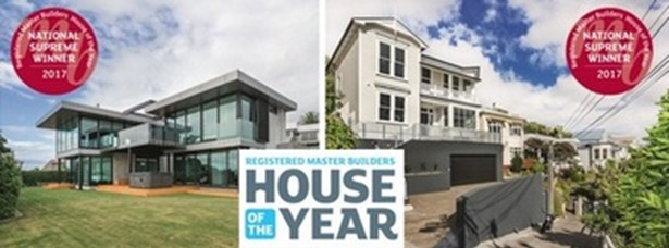 A new build in Christchurch and a renovation in Wellington have been recognised as New Zealand's best homes, winning Supreme Awards at the prestigious 27th Registered Master Builders 2017 House of the Year Awards.