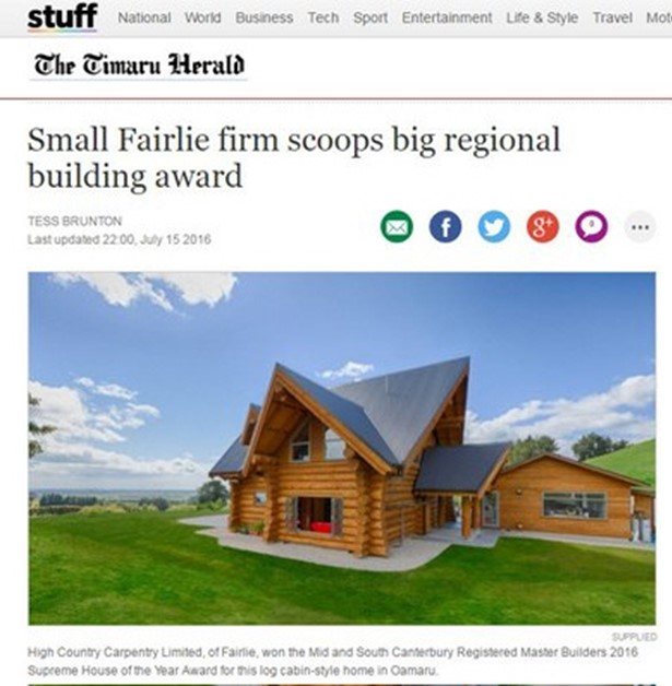 Small Fairlie firm scoops big regional building award