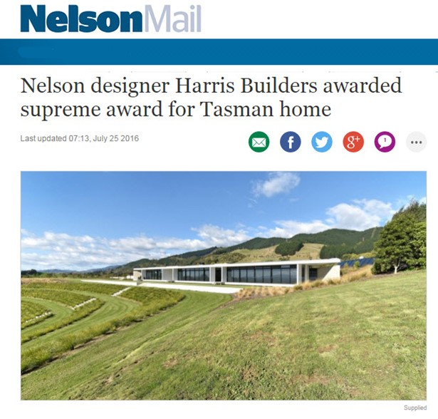 A dramatic home which stretches 60 metres along a hillside overlooking a Waimea Plains vineyard has taken out a supreme building award.