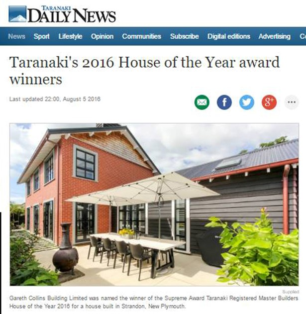 Taranaki's top houses have been praised for their expert design and detailing at this year's House of the Year awards.